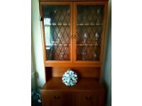 Glass cabinet ,with double cupboard ,shelves