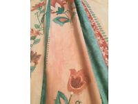 Peach and turquoise hand made curtains