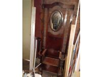 Old oak coat stand with mirror and storage