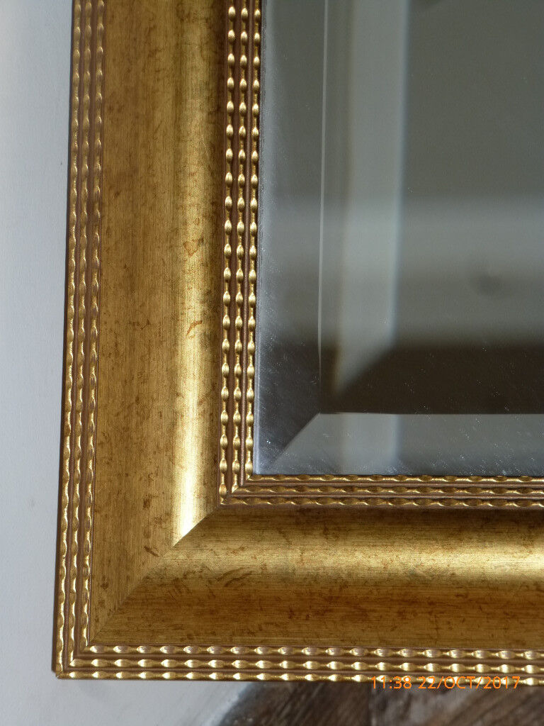 Large Beveled Glass Mirror with wooden frame 31 inches x 21 inches Hallway Dining Room Bedroom