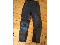 Ladies Black Leather Rhino Motorbike Trousers