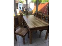 SHEESHAM/JALI DINING TABLE AND SIX CHAIRS