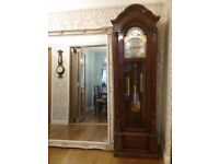 Emperor Grandfather/ Longcase Clock in Walnut and Burr Walnut 8 day Silent/ Chiming