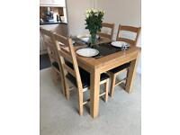 Bentley Designs - Solid wood and granite extendable dining room table with 6 chairs