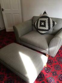 Grey love chair with footstool and cushion