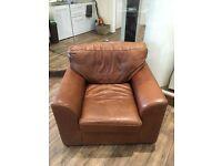 Brown leather armchair/sofa