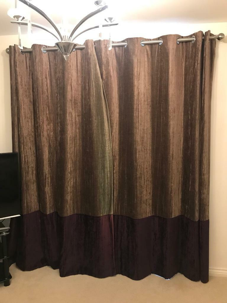 Purple And Gold Velvet Lined Curtains