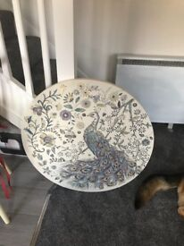 Large Round Canvas Peacock Print