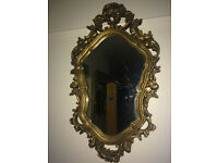Striking Antique Style French Rococo Ornate Wall Mirror Gilt Wood Frame