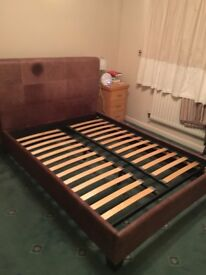 Double bed bedstead in Leather finish