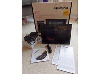 "POLAROID 8"" Digital Photo Frame with Alarm Clock/ Calendar/ Black/ Never Used/ 128MB Internal Memory"