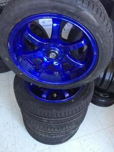 """Kit Mags 17"""" bleu ionisés montés avec de pneus 225/45ZR17 (NEUFS)"""