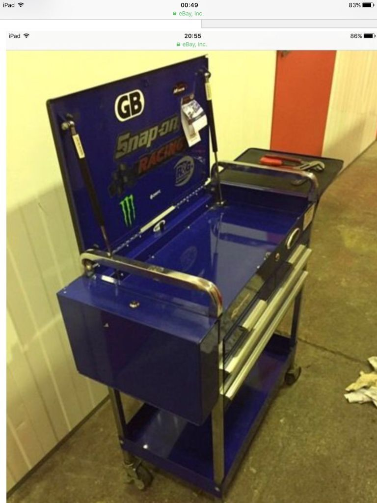 Snap On Bluepoint Service Trolley With Side Locker Tray