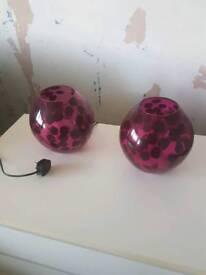 Purple glass lamps