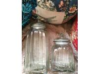 Pair of heavy weight glass storage jars canisters