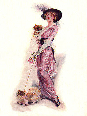 PEKINGESE CHARMING DOG GREETINGS NOTE CARD PRETTY GLAMOUR LADY WITH TWO DOGS