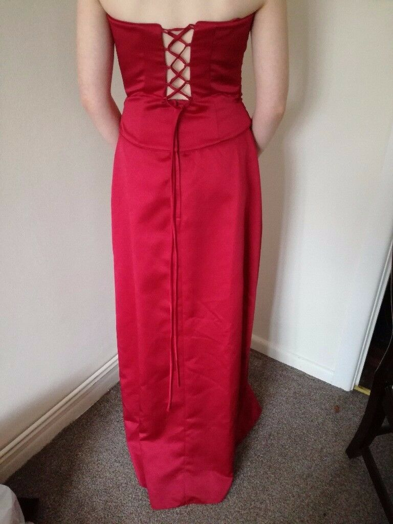 Red lace up evening dress size 8-12