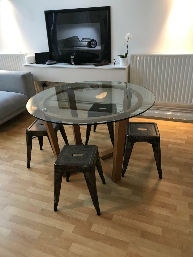 Glass and oak 120cm dining table similar to Heal's, Conran and Habitat