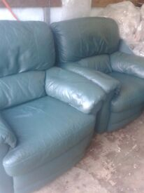 2 Leather Recliners + Leather Sofa