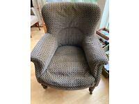 Traditional velvet upholstered armchair