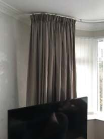 Laura Ashley mink satin curtains