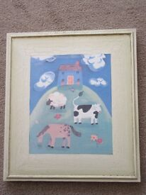 'Country Cottage with Farm Animals' Canvas Wall Art Picture (The Gift Company)