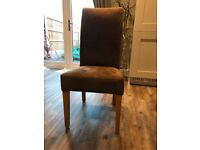 6 Brown suede dining chairs