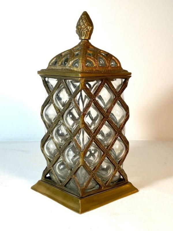 """Tall Square Caged Clear Blown Bubble Glass Lidded Jar Urn Made in India 11"""" Tall"""
