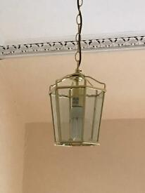 Glass and gold pendant light fitting