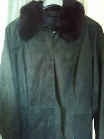 As new M&S Sude Coat with fur collar. REDUCED PRICE!!!