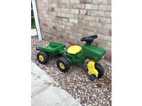 Kids pedal tractor and trailer
