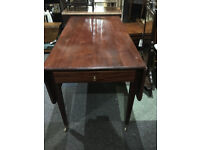 Appealing Antique Victorian Mahogany Pembroke Drop Leaf Table with Drawer on Brass Castors