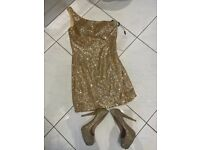 Ladies gold short sparkly Eve dress and shoes