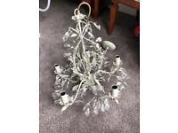5 bulb leaf and crystal chandelier