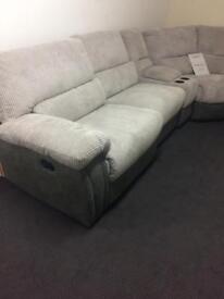 Harvey's grey velour reclining sofa settee set