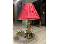 Laura Ashley brass table lamp, with Cranberry shade.