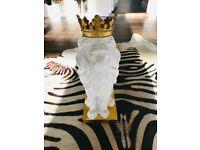 NEW WHITE & GOLD CROWN DECORATIVE LION STATUE ORNAMENT