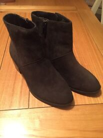 M & S Footglove Real Suede Ankle Boots Size 4