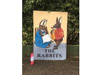 LARGE PETER RABBIT PAINTING PICTURE ART ON METAL