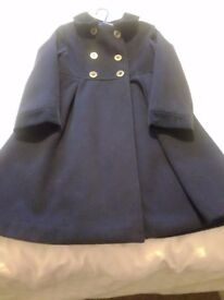 Girls navy blue double breasted coat size 7/8 years excellent condition