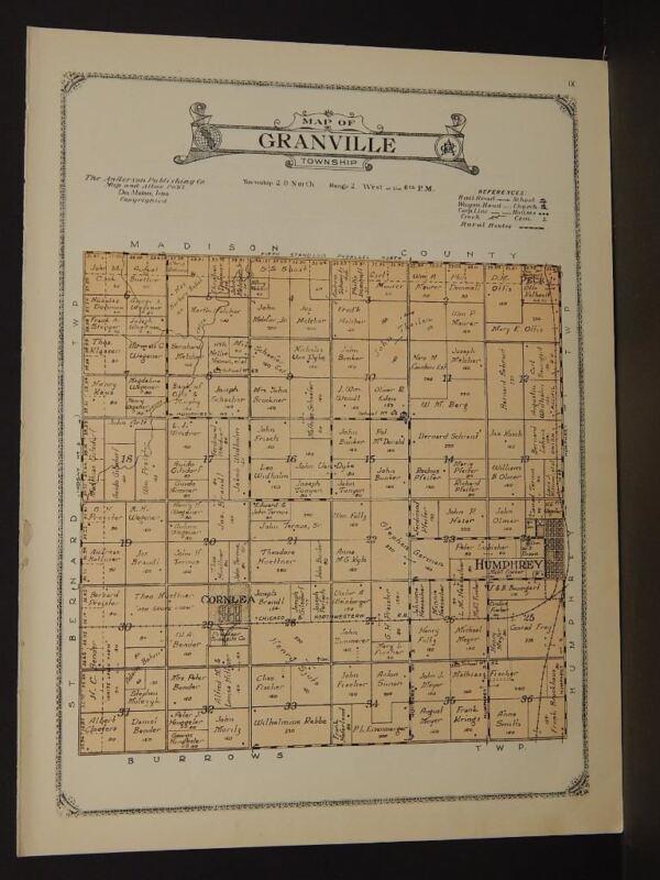 Nebraska Platte County Map Granville Township 1923  W5#50