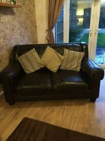 2 x 2 seater dark brown leather sofas