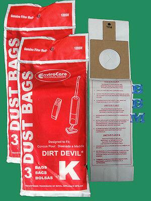 6 Royal Dirt Devil Stick broom Type K 3320075001 3320230001 320235 Vacuum Bag