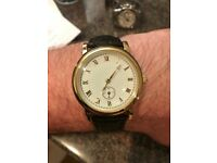 Gold plated Gents watch with Vera pelle brown leather strap ( new with tags )