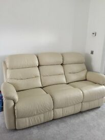 leather 3 seater, 2 seater sofas/setee and single chair, all recliners, biege