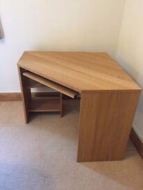 DESK - light oak colour, corner desk. Immaculate condition.