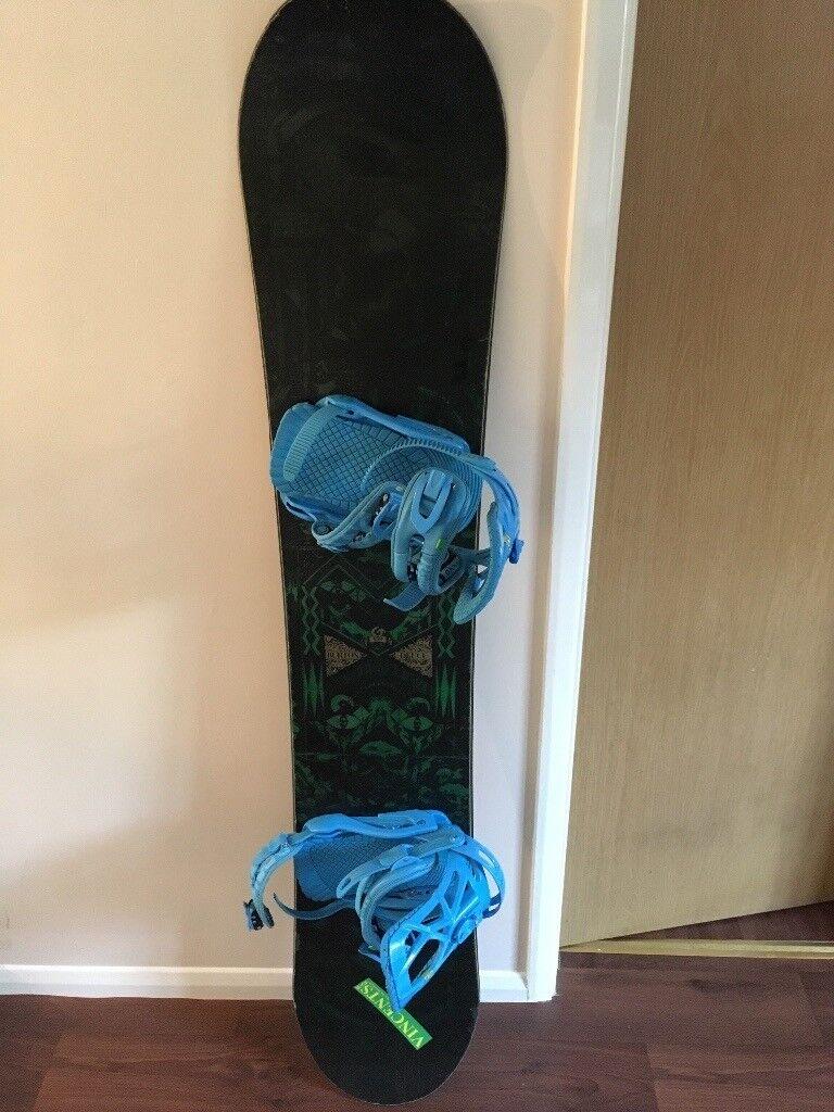 Burton snowboard with drake reload bindings