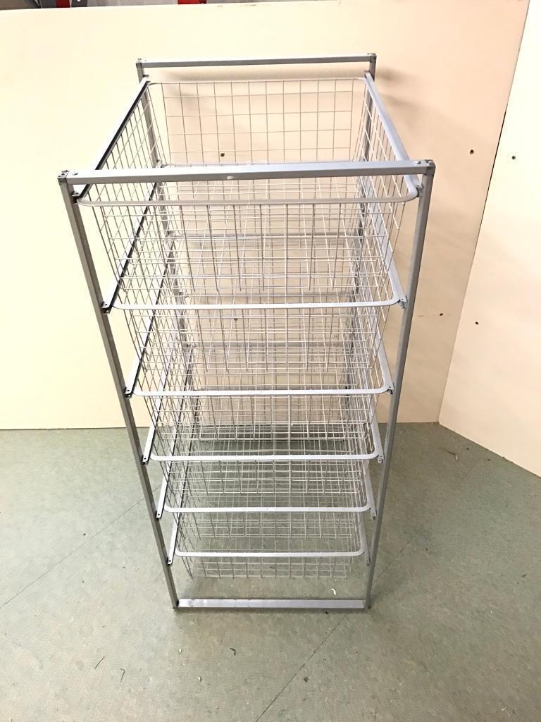 Wire Storage Mesh Metal Baskets 6 Drawer Tower Unit Racking Frame Elfa Type Wardrobe Bedroom Office