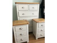 """4 drawer chest and 2 x bedside tables from """"The Cotswold co"""" for sale, in excellent condition"""
