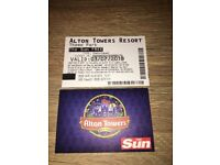 Two free entry tickets to alton towers valid for tuesday 3rd july.